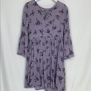 Mudd lavender dress with purple flowers size Lg.